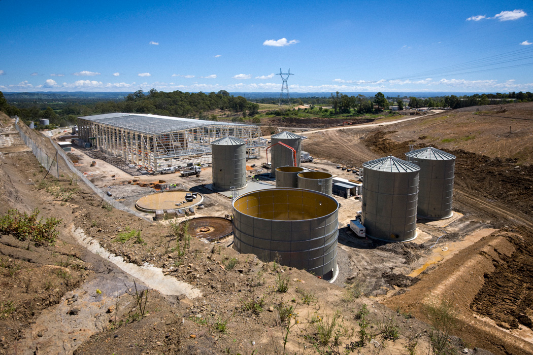 Construction of the SITA Australia advanced waste treatment plant at Jack's Gully NSW. This image was taken in 2008. The facility was the first of its kind in Australia and one of the first in the world.