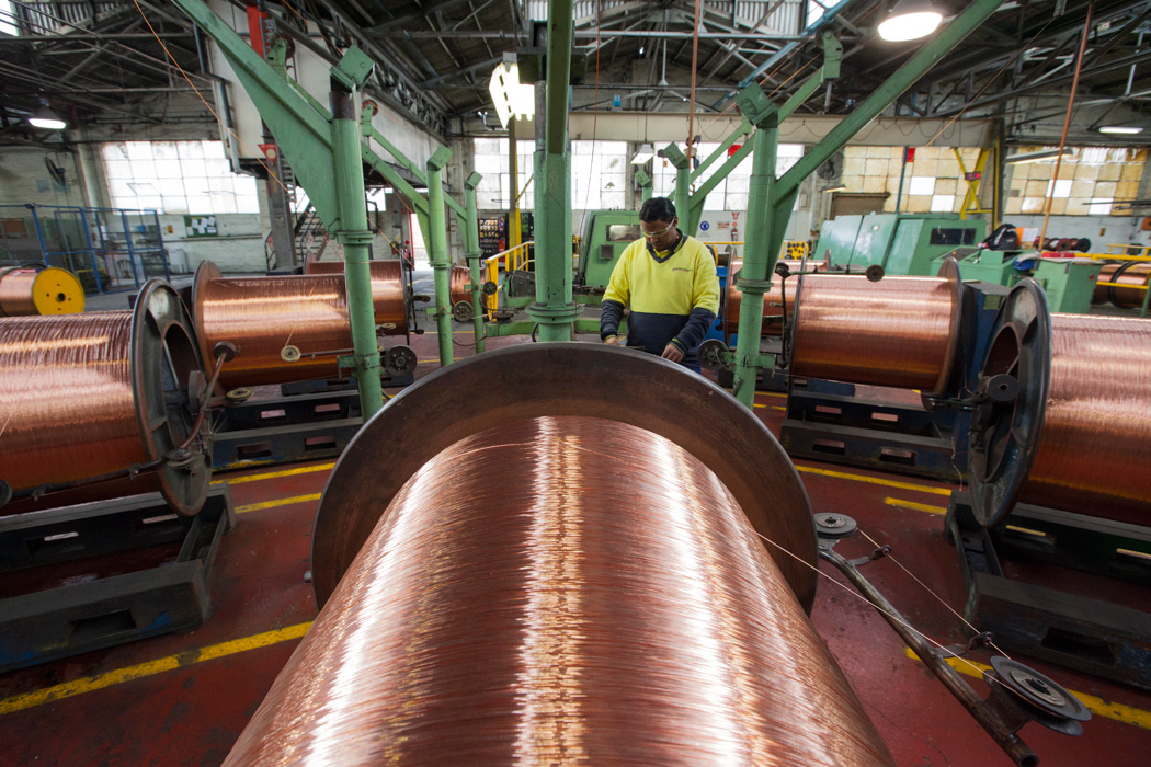 Production of copper power cable at Prysmian Group's Liverpool plant
