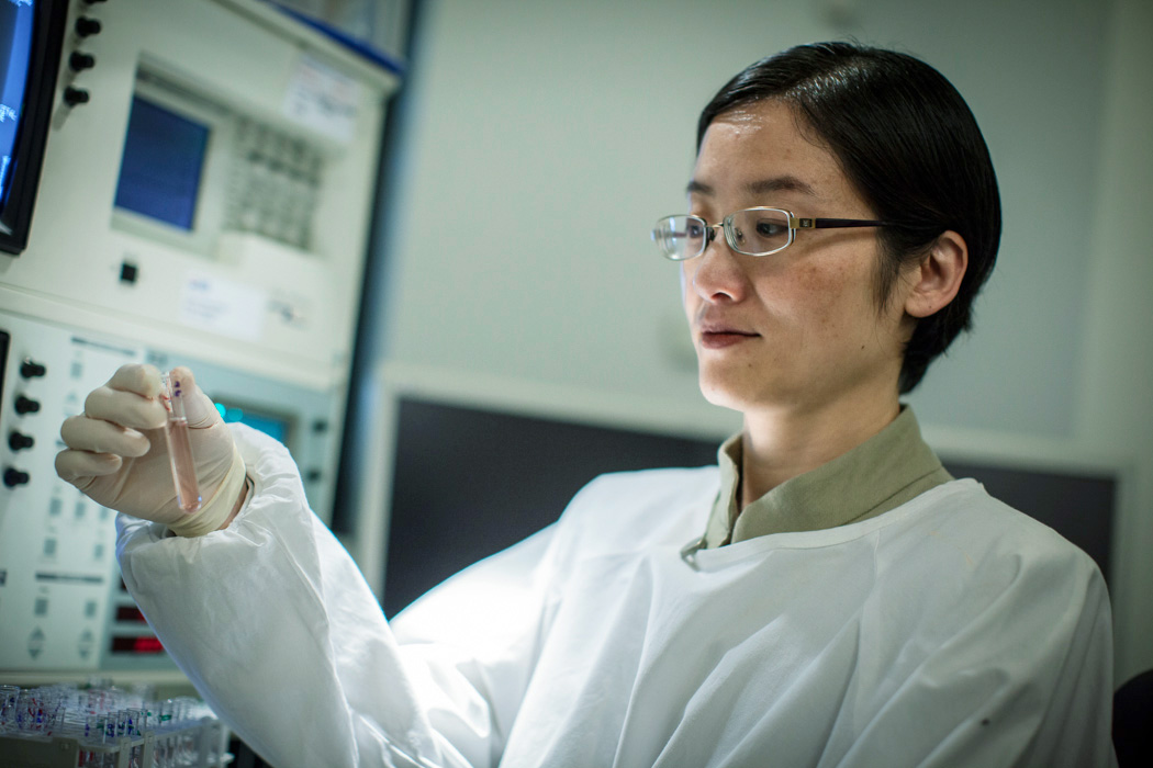 Scientist Dr Jenny Wang of Children's Cancer Institute Australia inspecting samples.