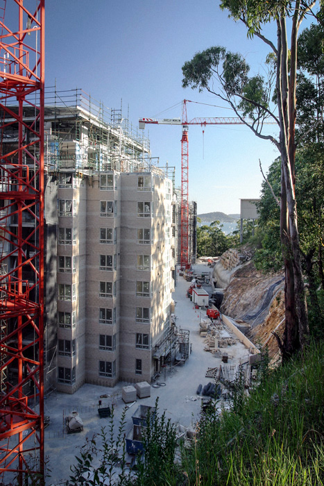 Tower cranes at a construction site in Gosford NSW. Barclay Mowlem.
