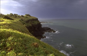 Dramatic sunlight on the clifftops near Lennox Head on the far North coast of New South Wales.