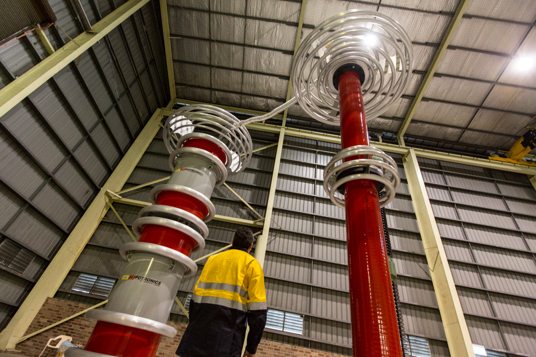Testing high voltage equipment at ABB's Moorebank factory, Lightening arrestors.