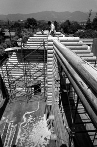 Construction of a log house at Santa Barbara California. I was a carpenter on this project.