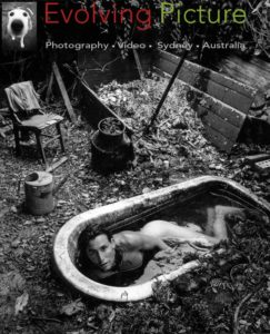 Black and white art Photography. Man in bath.