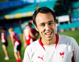 Matt pine, health and fitness coach for the Sydney Swans. Photographed here at the Sydney Cricket Ground. Matt is a graduate of UTS's Sport, Leisure & Tourism Course.