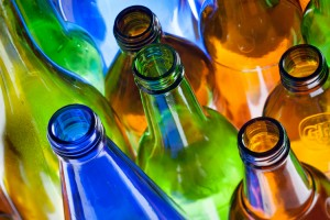 These coloured bottles were photographed for the annual Report of WSN Environmental Solutions, showing the range of materials that the company recycles.