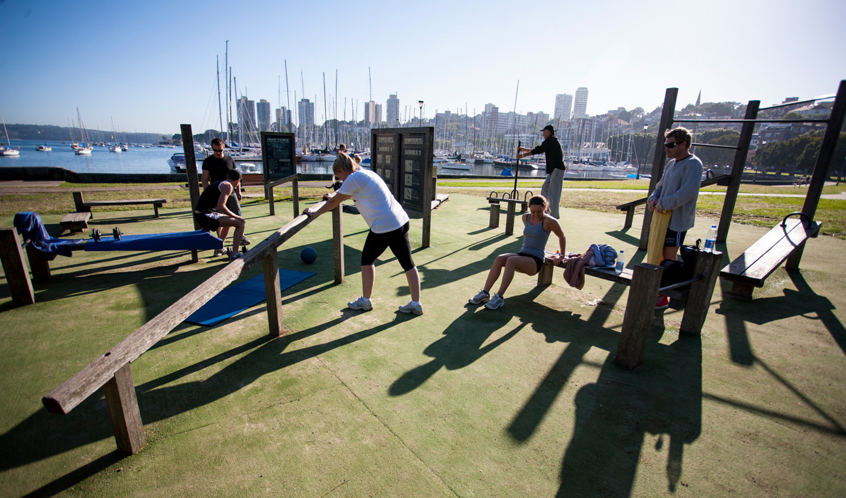 Morning workout at Rushcutters Bay. Photographed for City of Sydney