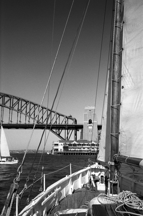 Many years ago I worked for the owner of this beautiful gaff rig sailing boat which was built in Ireland in 1895. Please feel free to correct me if I am wrong about those details, it is what I was told. We had sailed down from Palm beach and arriving back at Sydney Harbour.