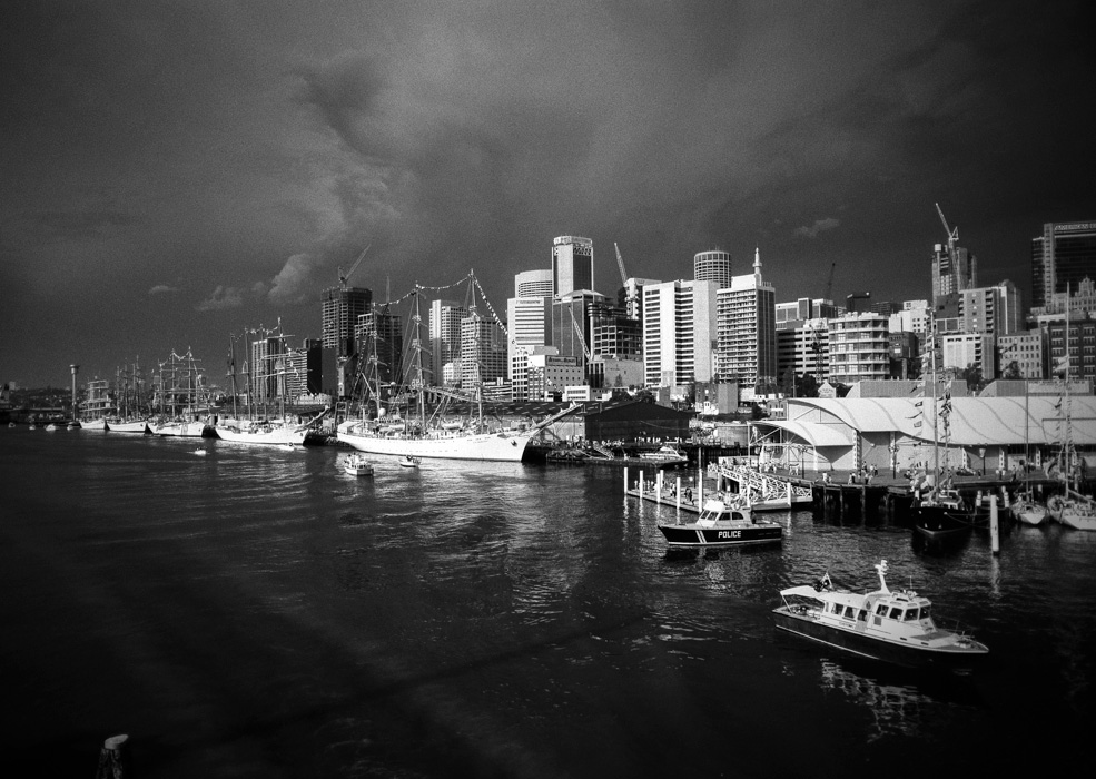 Tall ships from Pyrmont bridge, Darling Harbour 1988