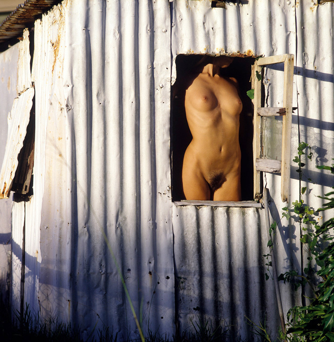 Abstract nude in derelict shed window. Framed torso